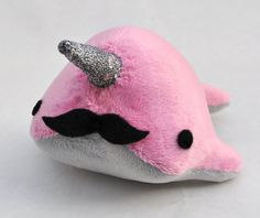 Narwhal Plush with Mustache Small MADETOORDER by OstrichFarm, $22.00
