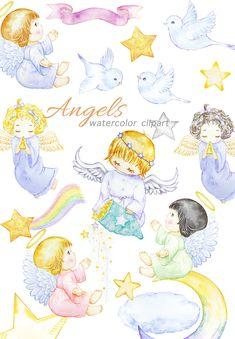 Angel Clipart, Sparkling Stars, White Doves, Craft Business, Cute Little Girls, Holy Spirit, Web Design, Wings, Clip Art