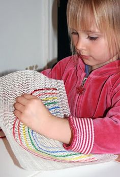 kids sewing- Filth Wizardry: Sewing and embroidery for kids with dollar store shelf liner
