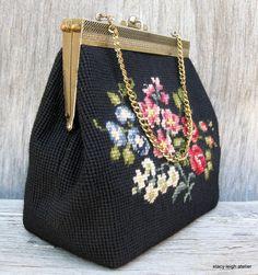 Black Floral Needlepoint Handbag via Blossom® inspiration from blossomgraphicdesign.com boards