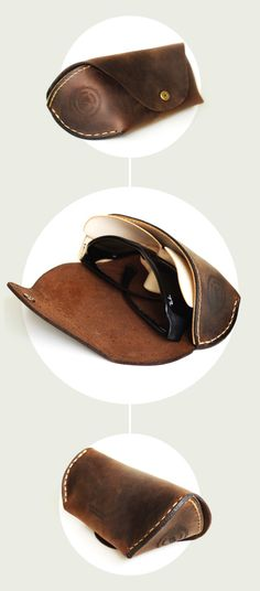 sunglasses handmade leather case in brown