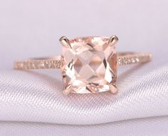 Morganite Engagement ring,14k Rose gold,8mm Cushion cut Pink Morganite,Promise,Bridal Ring,Diamond Wedding Band,Diamond Accent,Claw Prongs by milegem on Etsy https://www.etsy.com/listing/472056119/morganite-engagement-ring14k-rose