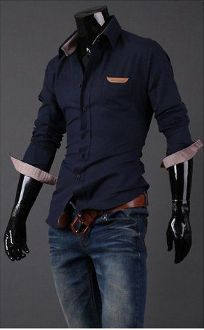 Men's Button Down Shirt with Beige Details