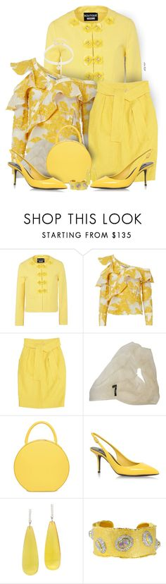 """""""Time for yellow"""" by ana-kreb ❤ liked on Polyvore featuring Boutique Moschino, self-portrait, Fendi, DKNY, Dolce&Gabbana, Michael Kanners, Victor Velyan and Design Lab"""