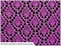LACE KNITTING No.6   Openwork Diamonds stitch, multiple of 10 sts, + 6, 16-row repeat.