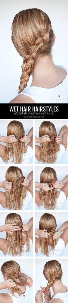 cool Hairstyles for wet hair: 3 simple braid tutorials you can wear in wet hair - Hair Romance Hairstyles Haircuts, Braided Hairstyles, Cool Hairstyles, Long Haircuts, Updo Hairstyle, Braided Updo, Modern Haircuts, Modern Hairstyles, Wedding Hairstyles