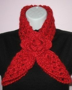 Red+Heart+Crochet+Scarf+Patterns | Crochet PATTERN - Rose Red Heart Scarf Neckwarmer and Headband