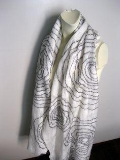 Felted Scarf White Black Wool Silk Super Soft by avivaschwarz, $125.00