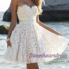 Creamy lace strapless mini prom dress, sweetheart a-line dress for teens, modest dress, lace evening dress, 2016 spring occasion dress http://sweetheartdress.storenvy.com/products/13956471-creamy-lace-strapless-sweetheart-mini-a-line-prom-dress-for-teens