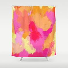 Pink, Orange and Yellow Watercolors Shower Curtain by Celeste Sheffey of Khoncepts - $68.00 #pinkbathroom
