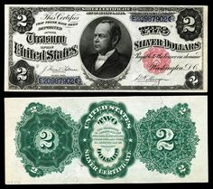Paper Money of the United States: 1891 Two Dollar Silver Certificate Windom Note Bust of William Windom, Secretary of the Treasury 1881-1884 and 1889-1891.