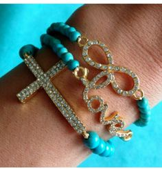 Arm Candy. Blue Rhinestone Bracelet Stack -Trio Set For a limited time use code PIN20 to get 20% off your entire order from PearlsAndRocks.com