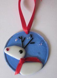 Christmas Deer Ornament Fused Glass