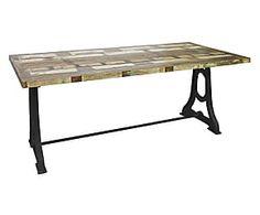 Tavolo da pranzo in legno e ghisa Rail - 180x90x75 cm