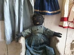 19Th C Early Rag Doll from MA.. Love this Doll mitten hands and original Blue Calico Dress..