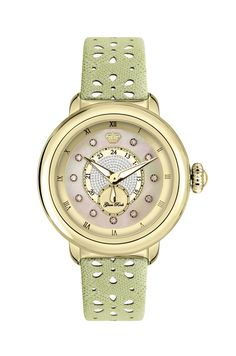 GR77006: Yellow Gold IP Stainless Steel Case Cover and Genuine Saffiano Leather Light Green Perforated Flower Strap