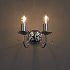 Albany Candle Chrome effect Double Wall light - B&Q for all your home and garden supplies and advice on all the latest DIY trends Plaster Wall Lights, Plaster Walls, White Wall Lights, Old Wall, Fabric Shades, Really Cool Stuff, Chrome, Ceiling Lights, Candles