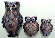 Lampwork owls by Johan de Lange