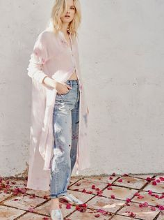 Happiest Morning Buttondown | Super relaxed tie-dye buttondown in a maxi silhouette with a crinkly fabrication and unfinished edges for a lived-in look. Side pockets and vents. Semi-sheer.