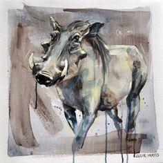 Warthog, Oil on Canvas Painting, Julie Mayo Artist Animal Paintings, Easel, Oil On Canvas, Artworks, Moose Art, Artist, Animals, Inspiration, Ideas