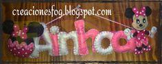 creaciones FOG: Nombre en fieltro Minnie Ainhoa