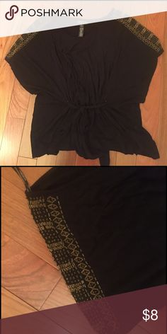 Forever 21 PLUS black top with gold beads Embellished sleeves. Tie waist. Excellent condition. Super soft material. Flattering for all body types. Forever 21 Tops Blouses