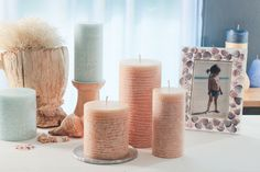"""Contour Candles"" Scented Pillars with a twist. Put through a lathe and turned to create surface texture. New for 2016 is Sand."