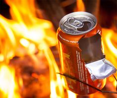 Popcorn in a Beer Can. Pour some popcorn kernels into an empty beer can (about ¼ of the way full), add some popcorn oil, and place the can on the edge of the fire. Allow the kernels to do their thing until the pops slow down to more than a couple seconds apart. Cut the can in half, and enjoy
