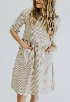 Vertical stripe pocket dress in taupe // Pando Grove by ROOLEE