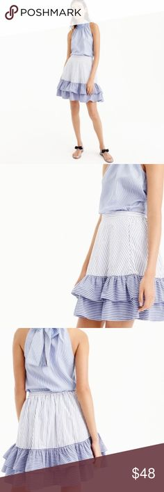 """J. CREW blue white striped ruffle skirt NWT J. CREW blue white striped ruffle skirt, new with tags. Fully lined skirt with elastic waistband and tiered ruffles. Front pockets. Waist 15"""", length 18"""". 100% cotton. J. Crew Skirts Mini"""