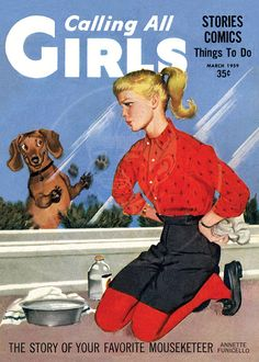 Calling all Girls (Mar - Giclée Canvas Print of a Vintage Children's Magazine Cover Vintage Dachshund, Dachshund Art, Vintage Dog, Vintage Children, Daschund, Magazines For Kids, Vintage Magazines, Scottish Terrier, Dog Pictures