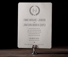Letterpress with a soft, modern aura and artistic shine, Alouette Monogram embodies a stylish wedding spirit.