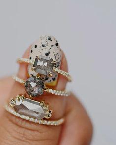 Seattle Alternative Engagement Rings & Fine Jewelry. Black Owned. Handmade Wedding Rings, Handmade Engagement Rings, Alternative Engagement Rings, Black Jewelry, Fine Jewelry, Grey Diamond Engagement Ring, Jewelry Design, Seattle, Jewelry Websites