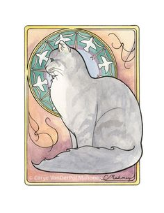 This listing is for a single note card featuring my artwork Cat Nouveau #2 of a Maine Coon Cat with a halo of birds, done in an Art Nouveau style