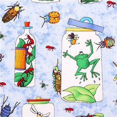 blue frog bug animal fabric Bugaboo by Northcott Studio 1 Frog Art, Textiles, Kawaii, Bugs And Insects, Bugaboo, Frogs, Cardmaking, Fabrics, Snoopy