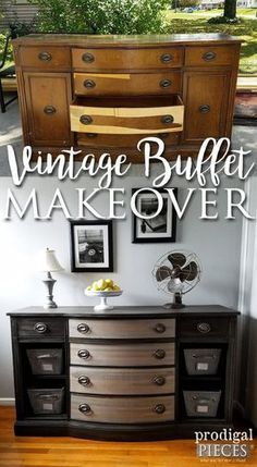 Worn Down Vintage Buffet Gets New Lease on Life by Teenage Boy   Furniture Makeover by Prodigal Pieces   www.prodigalpieces.com