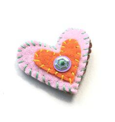 pinfelt heartValentine's art brooch wearable art by linzb on Etsy