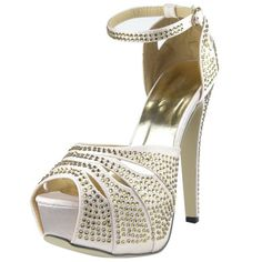 Womens Platform Sandals Studded Peep Toe Cutout High Heel Dress Shoes Champagne SZ 8 ** Find out more about the great product at the image link.