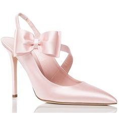 Kate Spade Livia Heels ($350) ❤ liked on Polyvore featuring shoes, pumps, pink satin shoes, pink stilettos, stiletto heel pumps, pink bow pumps and pink shoes
