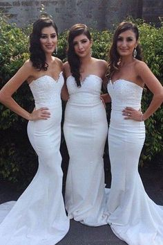 Elegant White Sexy Mermaid Cheap Wedding Party Guest Bridesmaid Dresses  c72d78d26cea