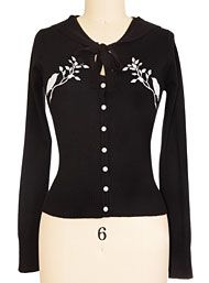 Tops & Tees - Perched Birds Retro Pin Up Cardigan Sweater by Voodoo Vixen Clothing Clothing
