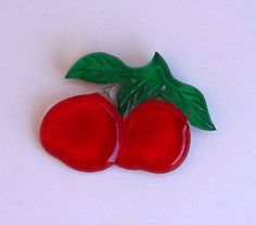 "Lucite Cherry Red Apple Pin 50s Carved Brooch 3"" Wide By 2 1/2"" Tall Modernism Vintage Costume Jewelry Accessory Reverse Painted Clear Green by Kissisjustakiss on Etsy https://www.etsy.com/listing/224311246/lucite-cherry-red-apple-pin-50s-carved"