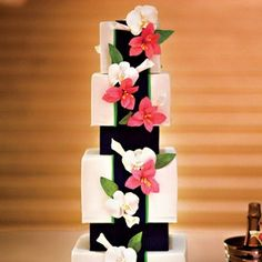 Modern Pink & Navy wedding cake