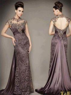 Vizon-lila uzun abiye elbise