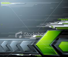 Abstract futuristic background with green arrows and design elements. Royalty Free Stock Vector Art Illustration