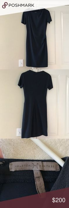 Halston Heritage Dress This gorgeous deep blue dress looks great on and is easy to move in with the cotton and lurex material H by Halston Dresses