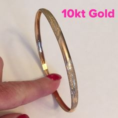 "10kt Yellow Gold Bangle 10kt Yellow Gold. This is for a larger wrist. Simply Beautiful. Not sure of the weight so price will reflect until I can get it to the jeweler for weight. This is an opening bangle with safely clasp and hook. 3"" in diameter. Jewelry Bracelets"