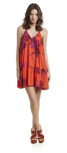 vestido curto soltinho alcinha decote v estampado flores