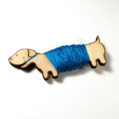Flossy the Dachshund Embroidery Floss Bobbin by sugarcookie
