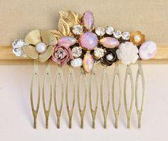 The Vow - Vintage Glass Opal Bridal Hair Comb,Fire Opal Hair Comb,Blush Pink,TRUE Vintage,OOAK Harlequin Opal,Heirloom,Rhinestone Pearl,Gol on Etsy, $58.00
